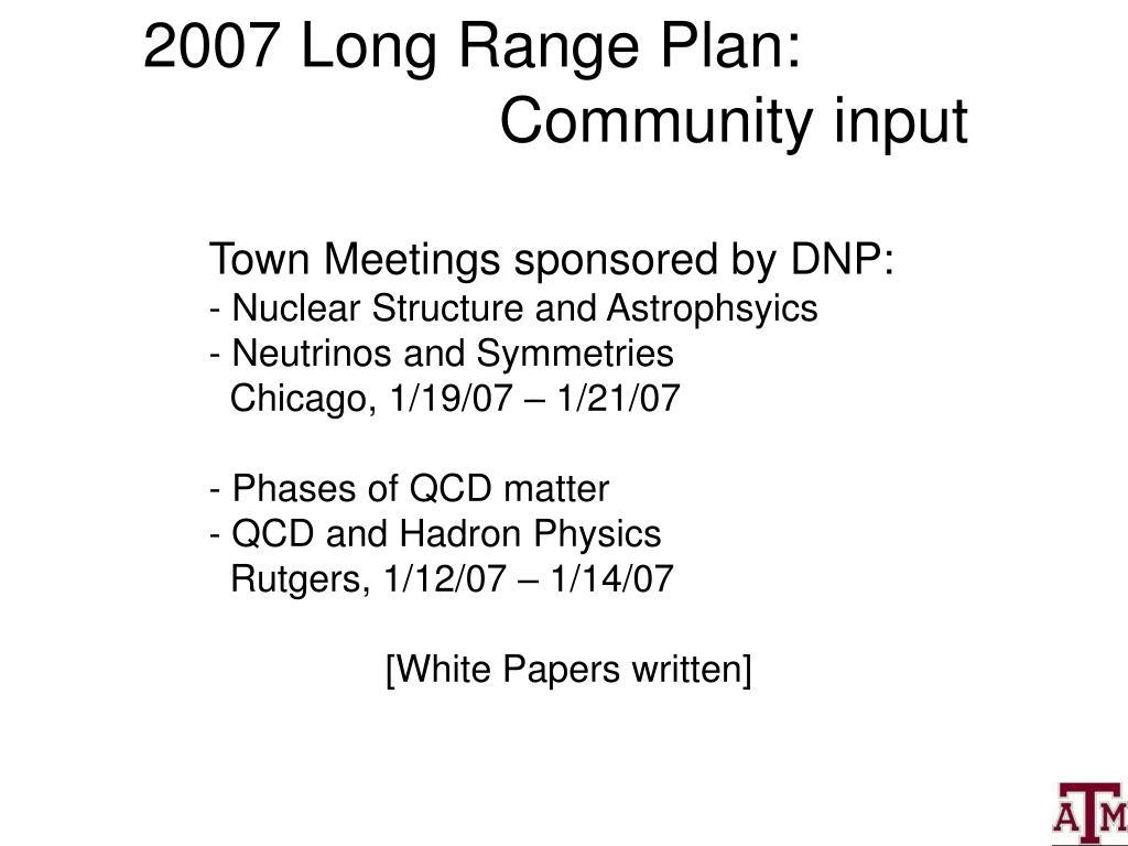 2007 Long Range Plan: