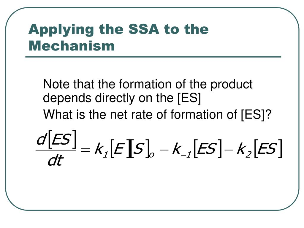 Applying the SSA to the Mechanism