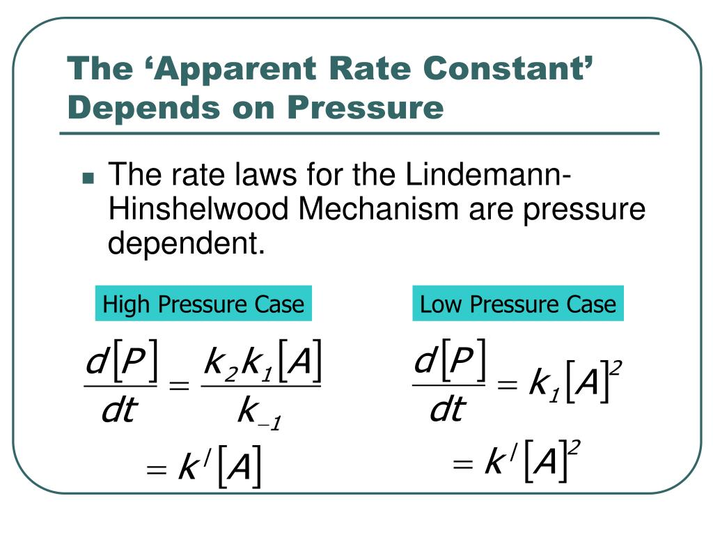 The 'Apparent Rate Constant' Depends on Pressure
