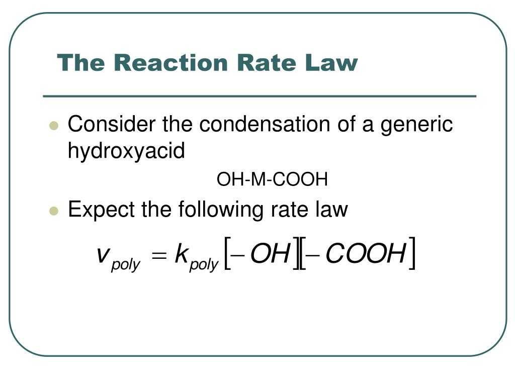 The Reaction Rate Law