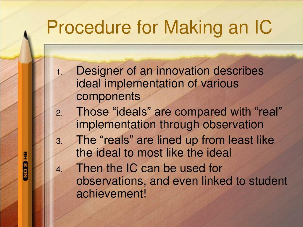 Procedure for Making an IC
