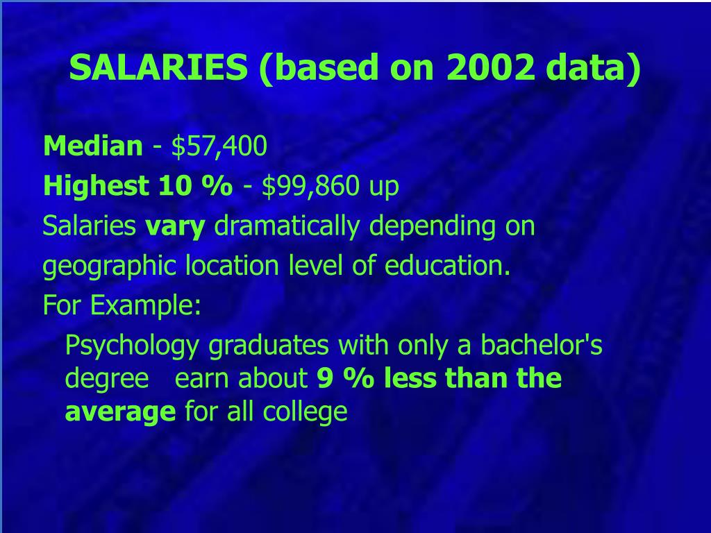 SALARIES (based on 2002 data)