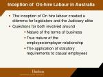 inception of on hire labour in australia