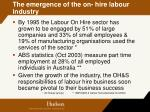 the emergence of the on hire labour industry
