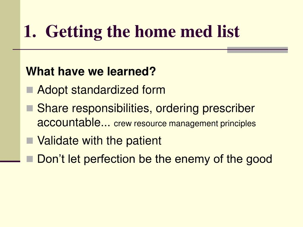 1.  Getting the home med list