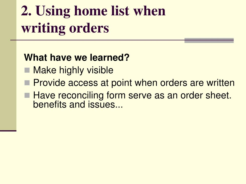 2. Using home list when