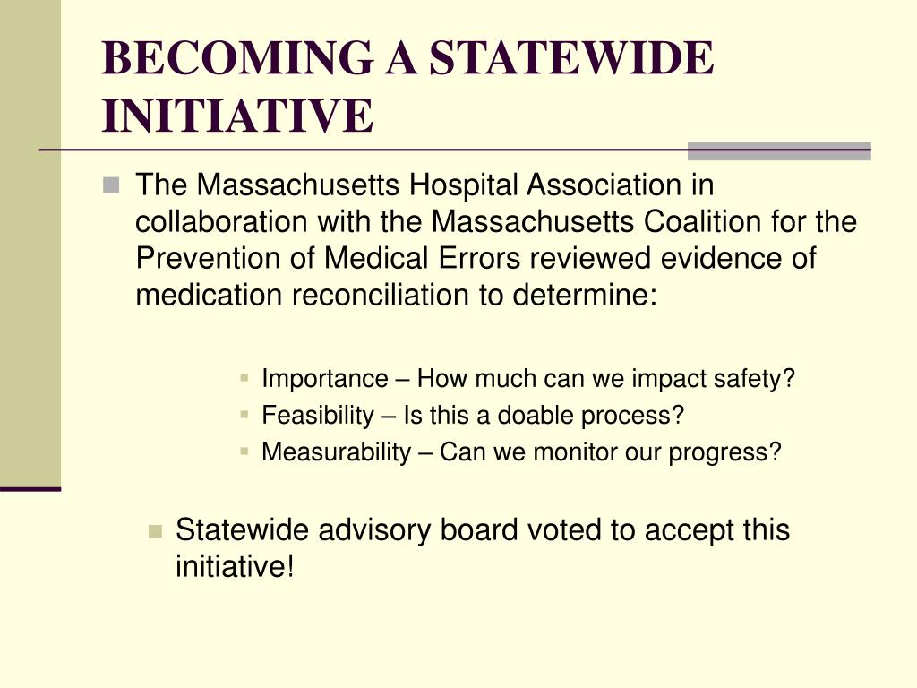 BECOMING A STATEWIDE INITIATIVE