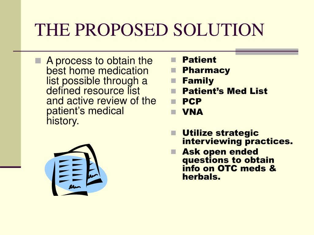 A process to obtain the best home medication list possible through a defined resource list and active review of the patient's medical history.