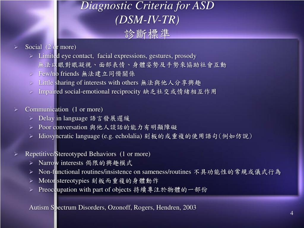 Diagnostic Criteria for ASD