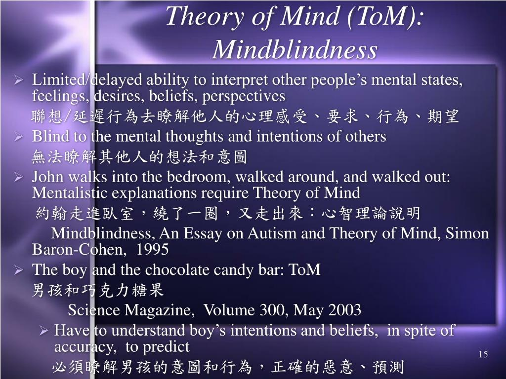 Theory of Mind (ToM): Mindblindness