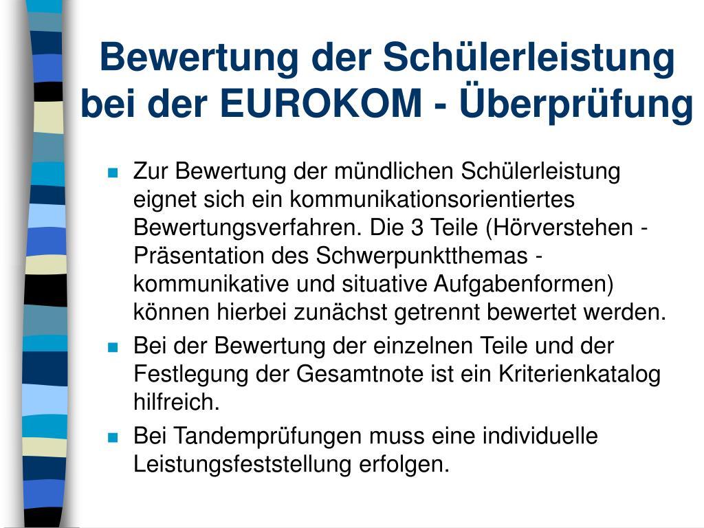 Bewertung der Schülerleistung bei der EUROKOM - Überprüfung