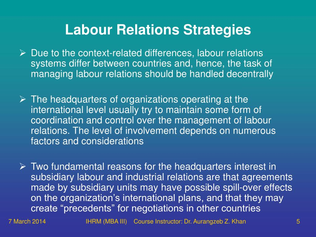 international human resource industrial relations system