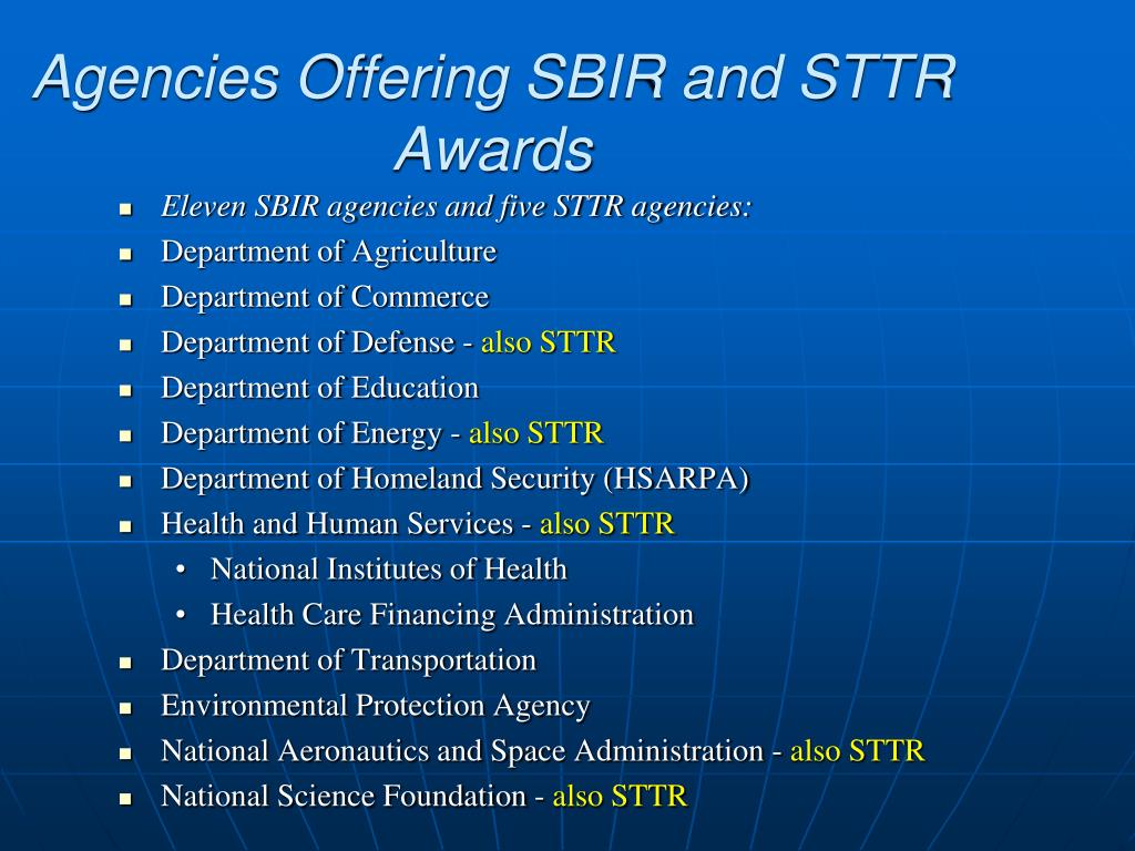 Agencies Offering SBIR and STTR Awards
