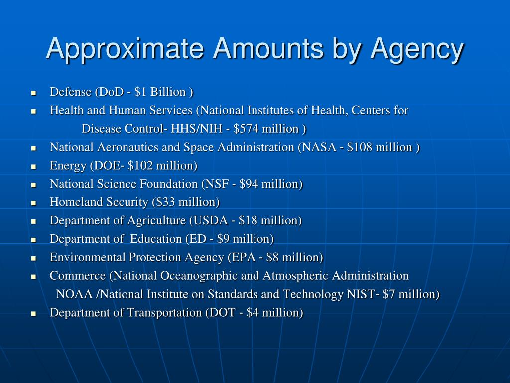 Approximate Amounts by Agency