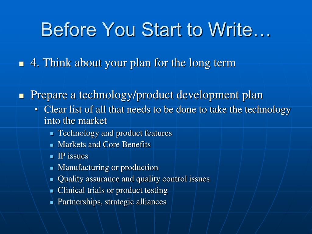 Before You Start to Write…