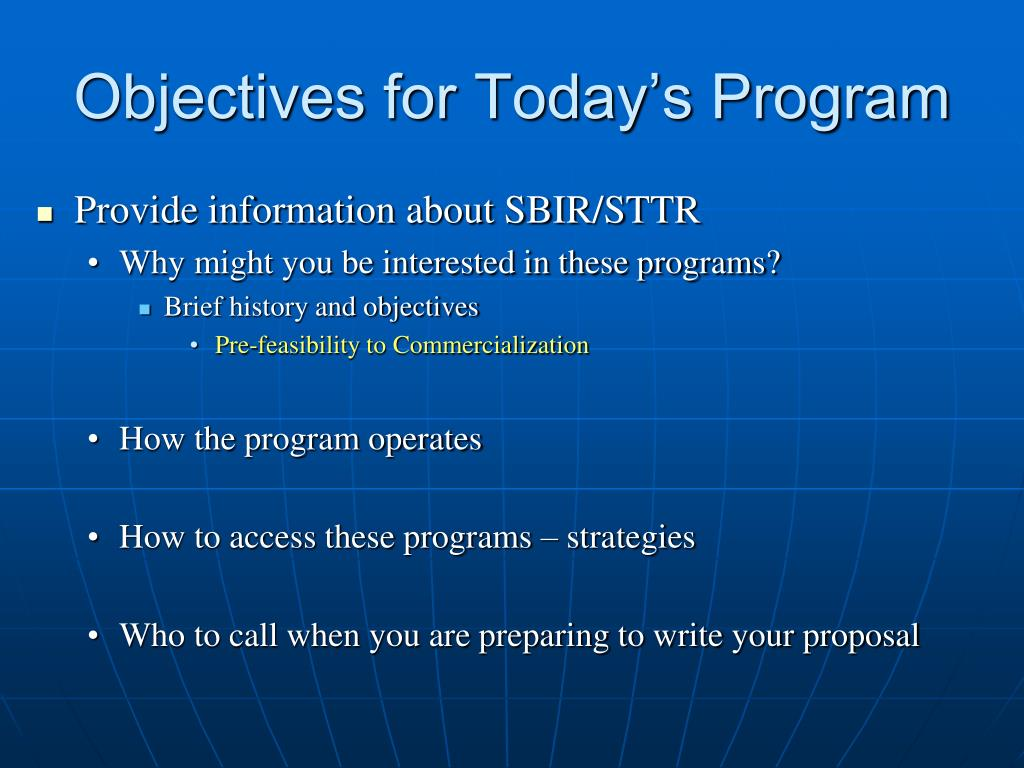Objectives for Today's Program