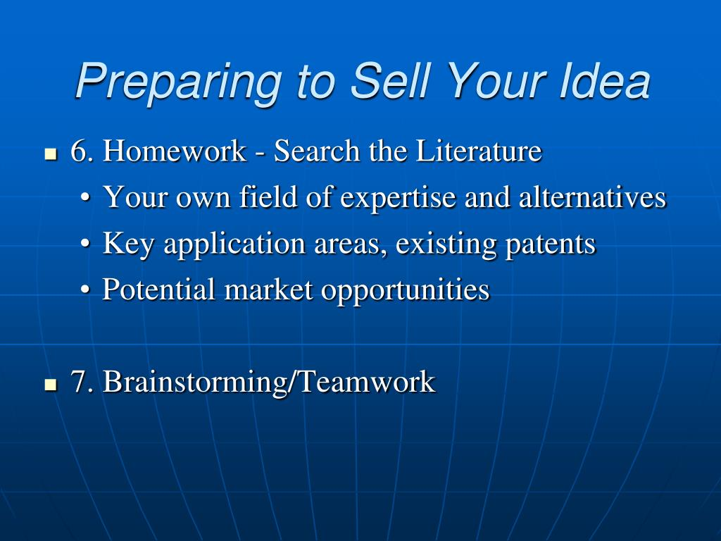 Preparing to Sell Your Idea