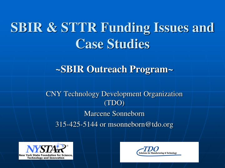 Sbir sttr funding issues and case studies