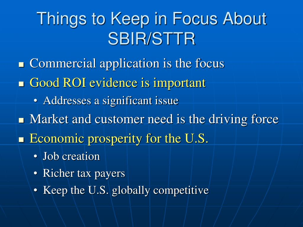 Things to Keep in Focus About SBIR/STTR
