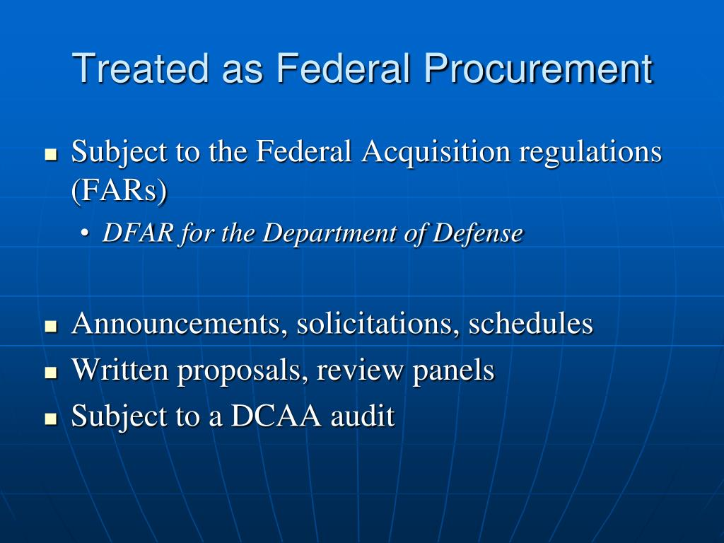 Treated as Federal Procurement