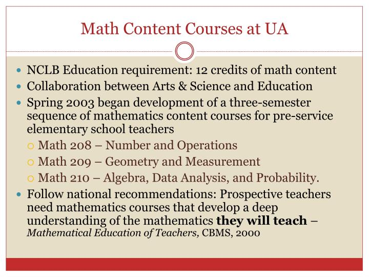 Math content courses at ua