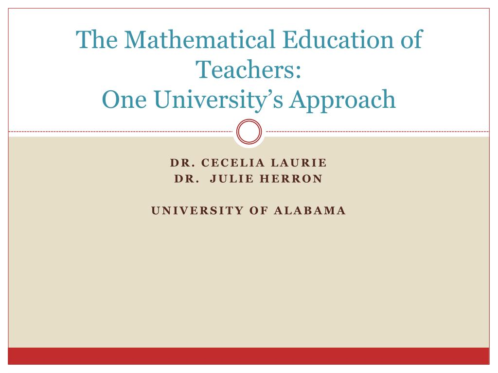 The Mathematical Education of Teachers: