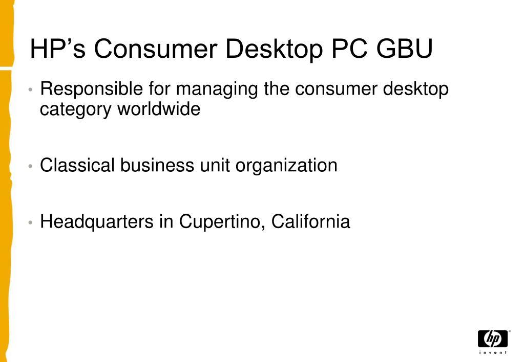 HP's Consumer Desktop PC GBU