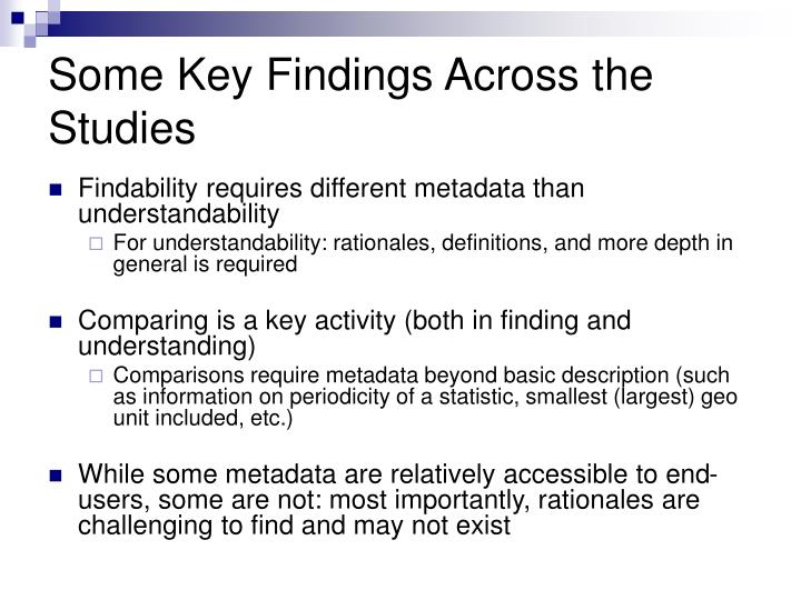 Some Key Findings Across the Studies