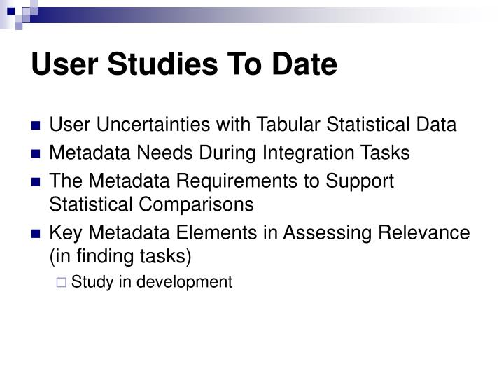 User Studies To Date