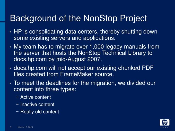 Background of the nonstop project