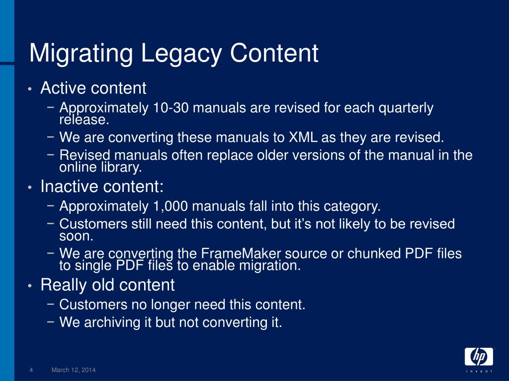 Migrating Legacy Content