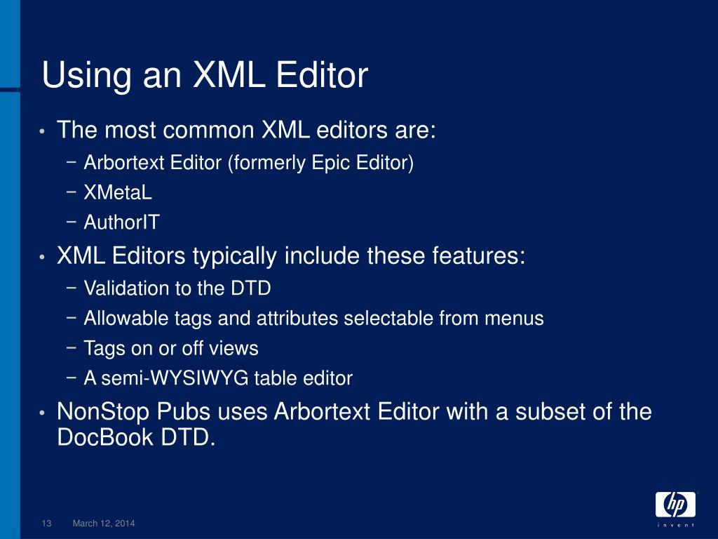 Using an XML Editor