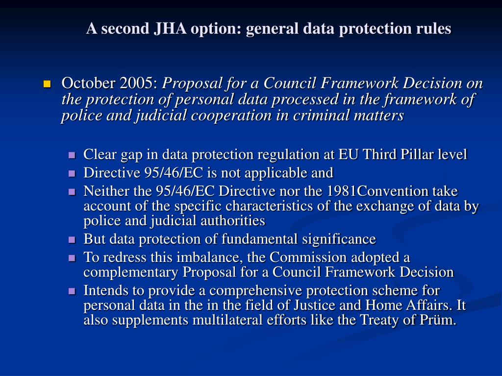 A second JHA option: general data protection rules