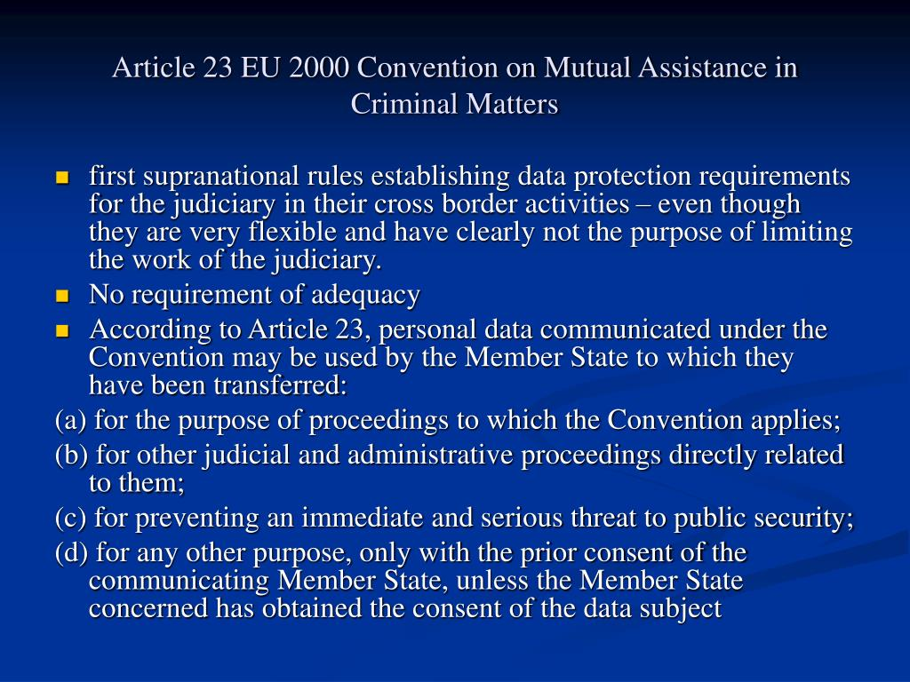 Article 23 EU 2000 Convention on Mutual Assistance in Criminal Matters
