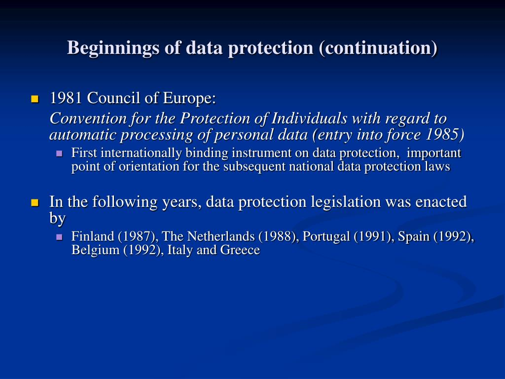 Beginnings of data protection (continuation)