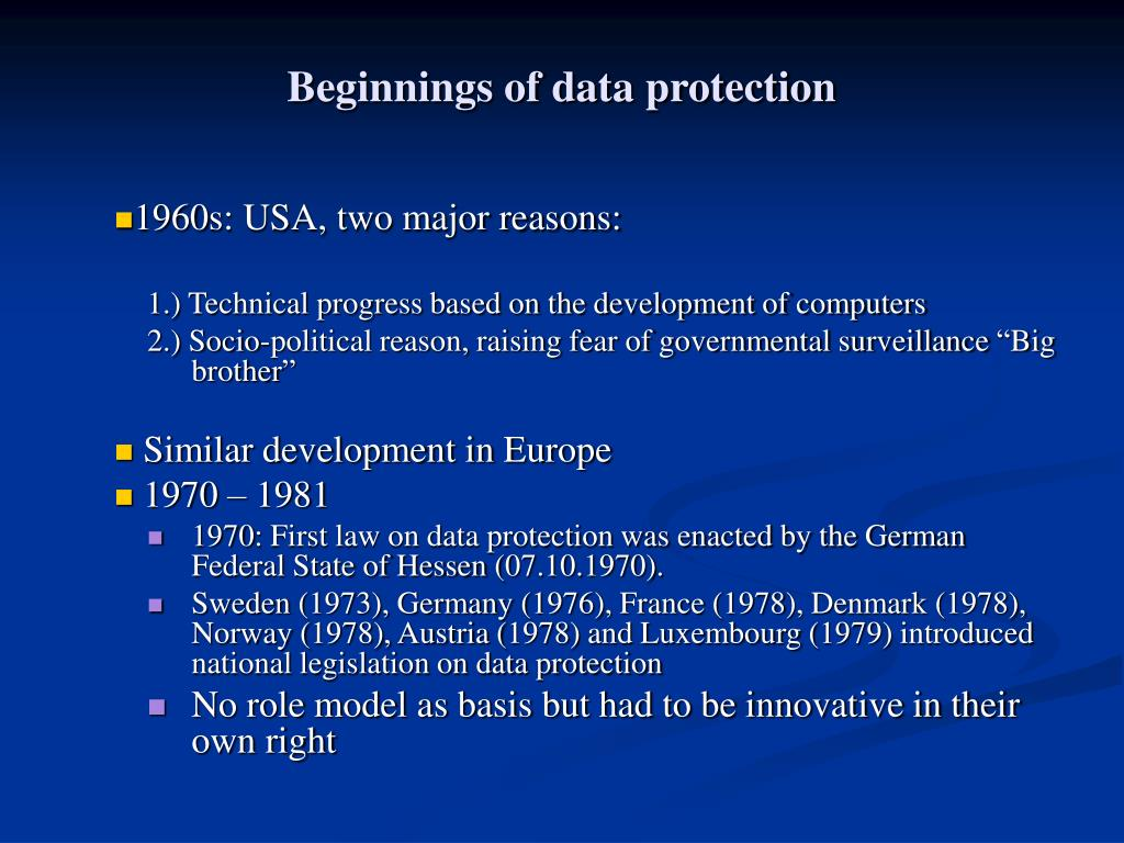 Beginnings of data protection