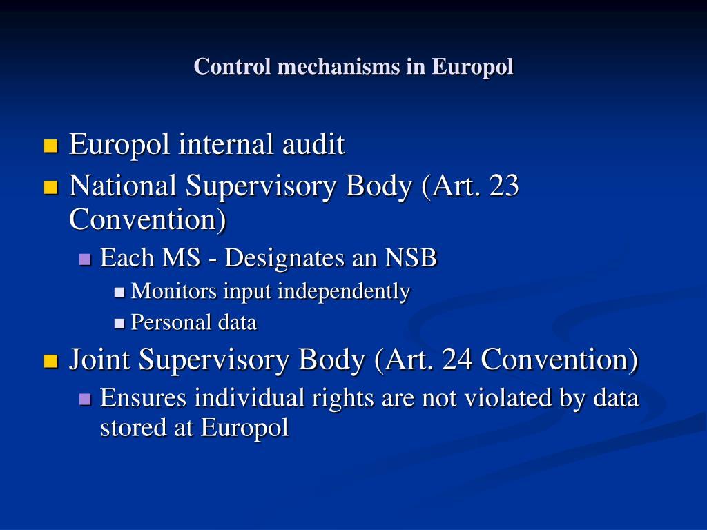 Control mechanisms in Europol