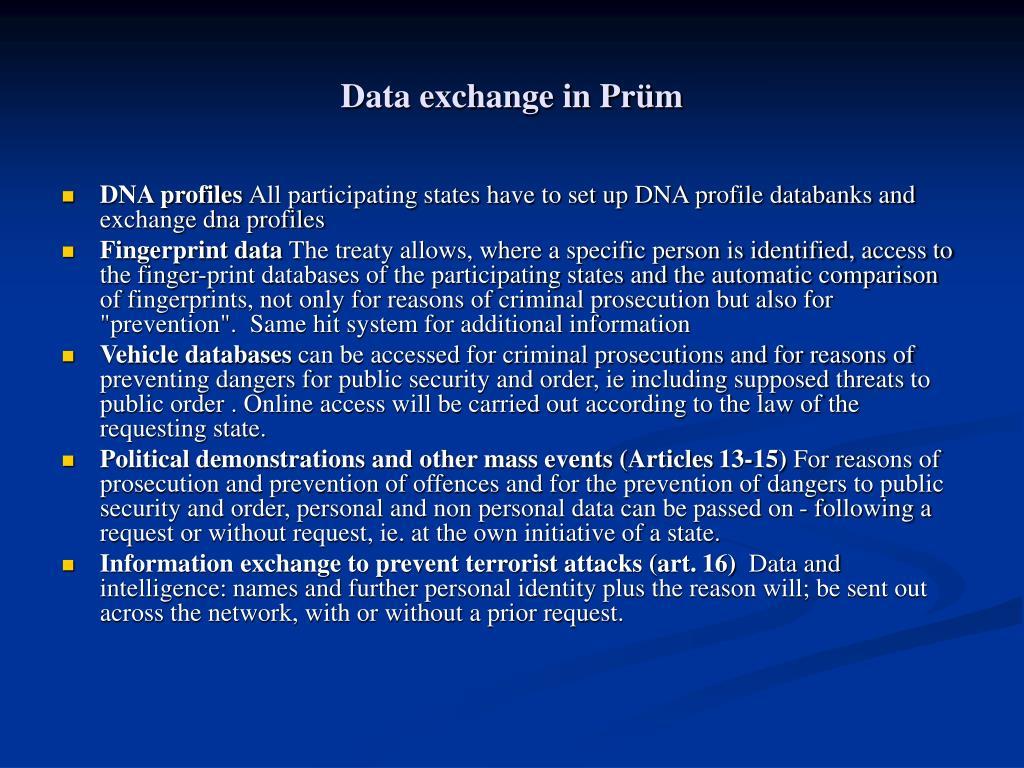 Data exchange in Prüm