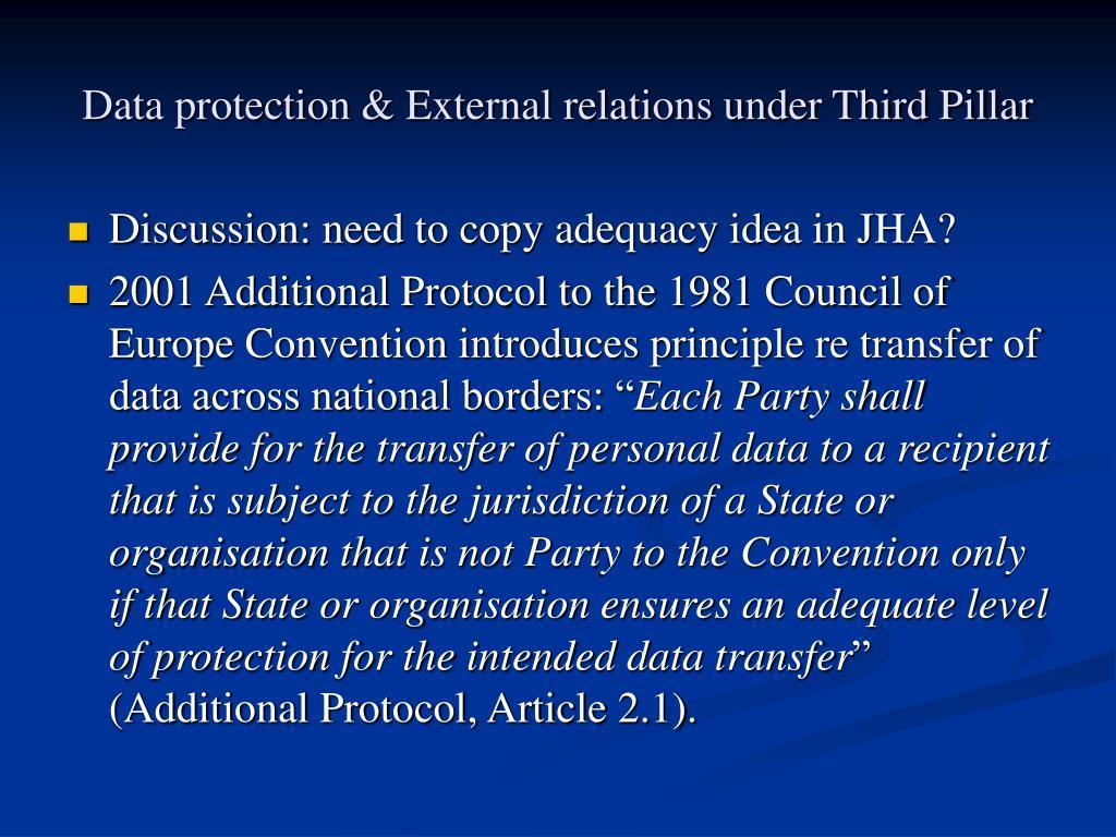 Data protection & External relations under Third Pillar