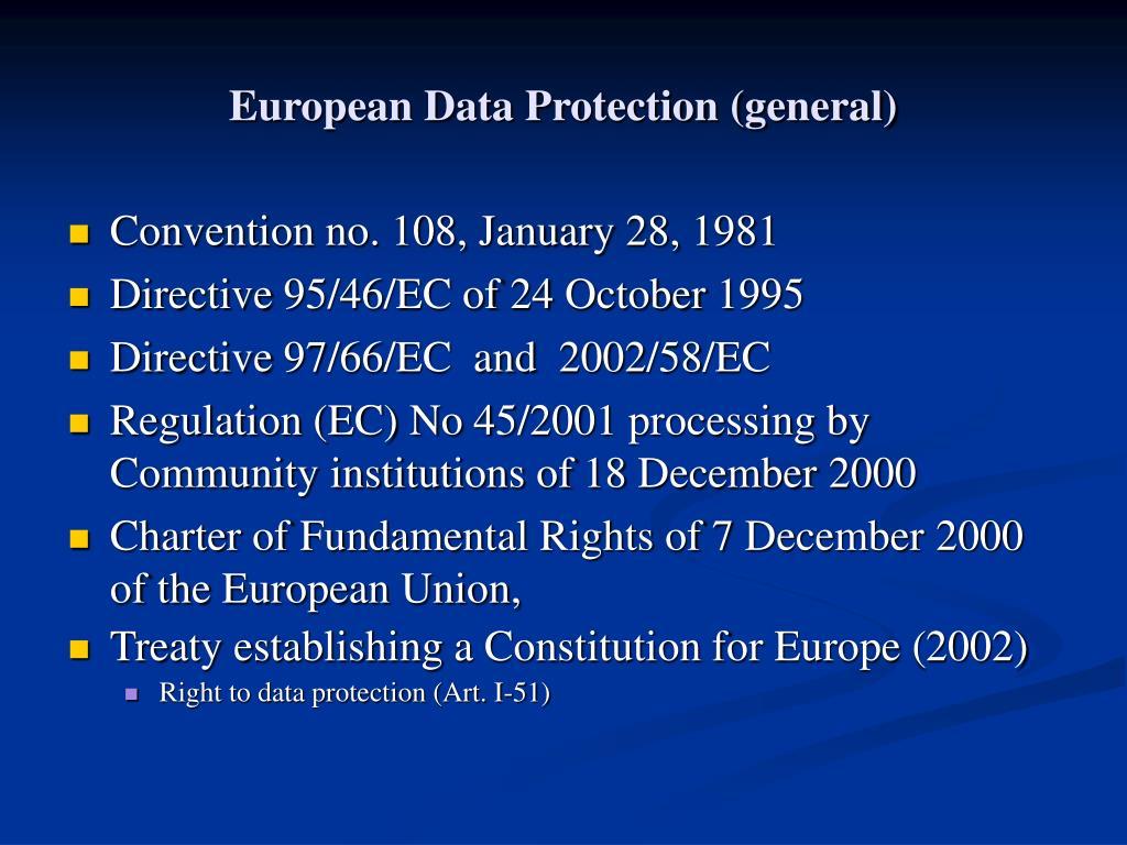 European Data Protection (general)