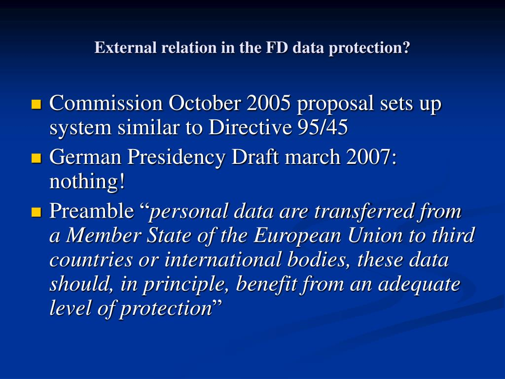 External relation in the FD data protection?