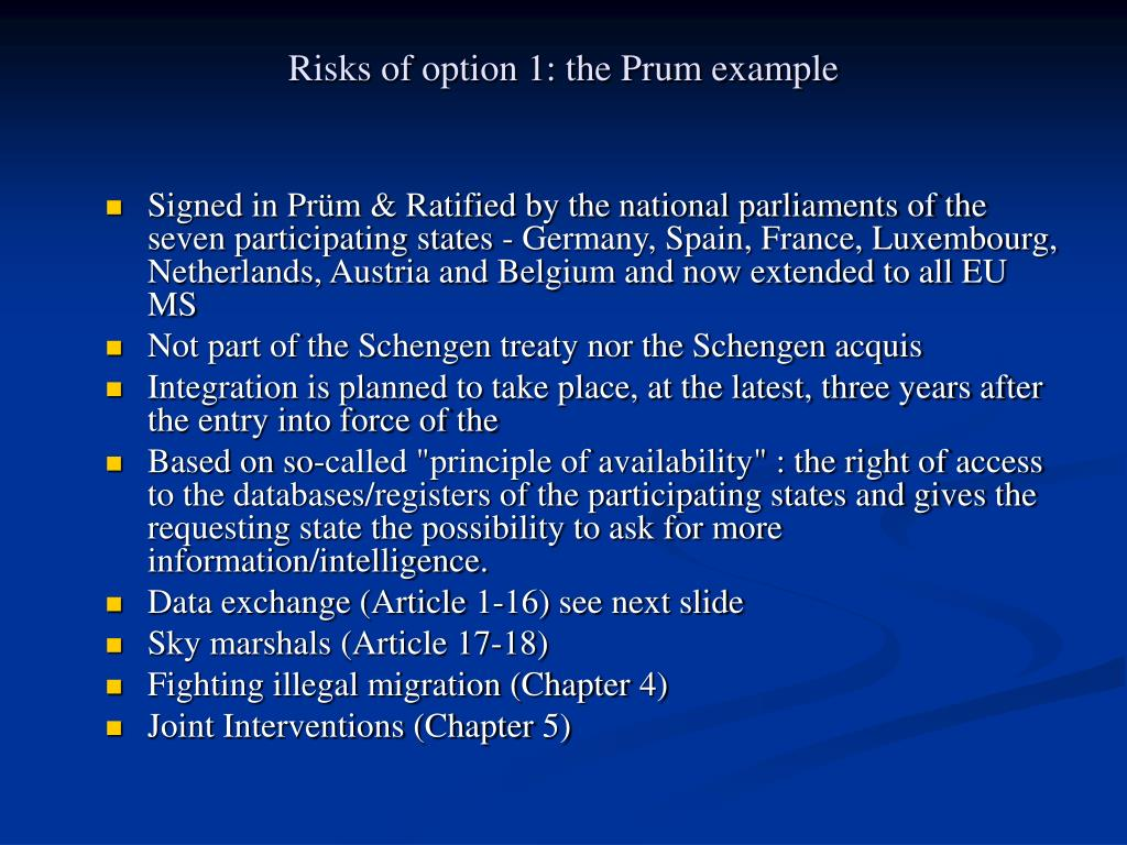 Risks of option 1: the Prum example