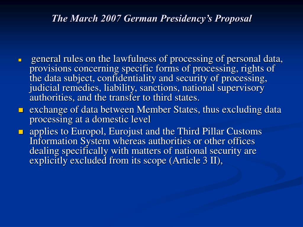 The March 2007 German Presidency's Proposal