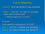 future reporting
