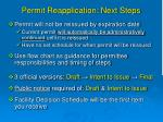 permit reapplication next steps