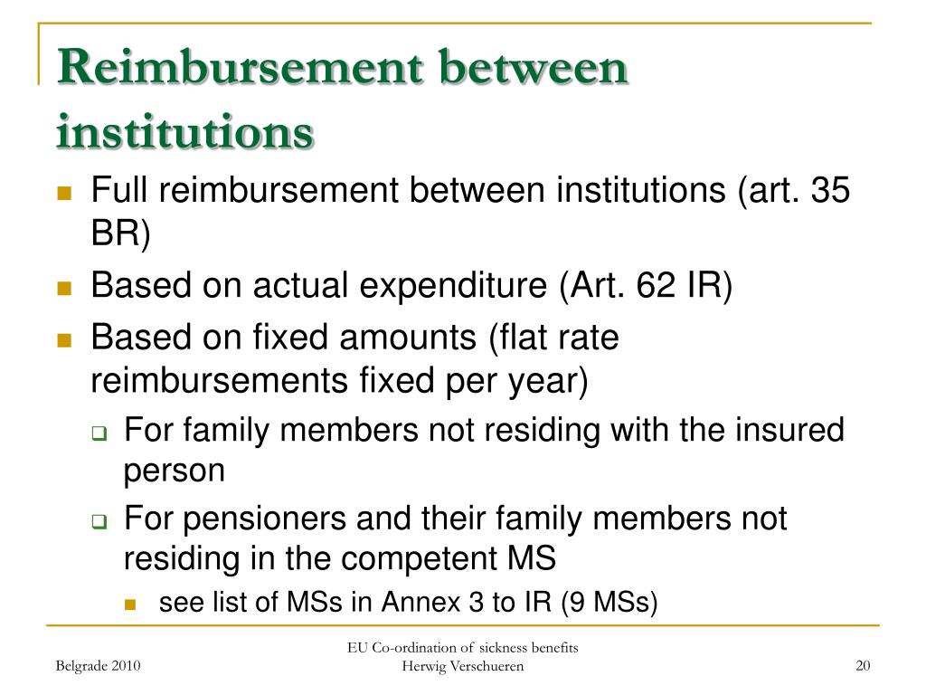 Reimbursement between institutions