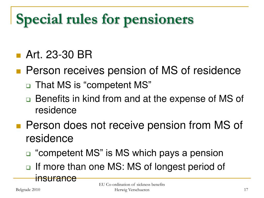 Special rules for pensioners