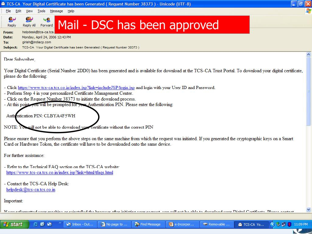 Mail - DSC has been approved