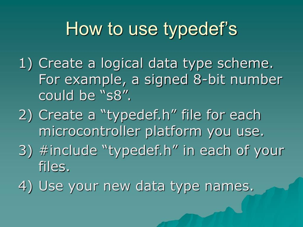 How to use typedef's