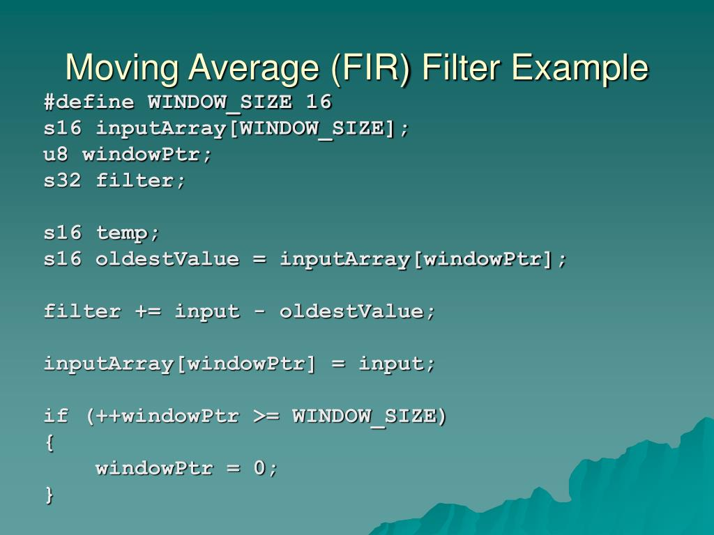 Moving Average (FIR) Filter Example